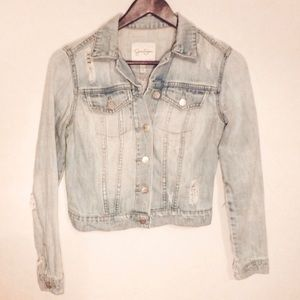 Jessica Simpson distressed crop jean jacket